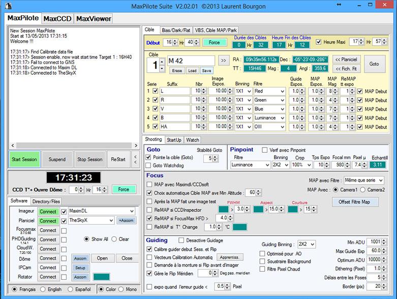 MaxPilote : Soft pour gérer vos soirées avec Maxim DL/FocusMax/Pinpoint/PHDGuiding Maxpilote8